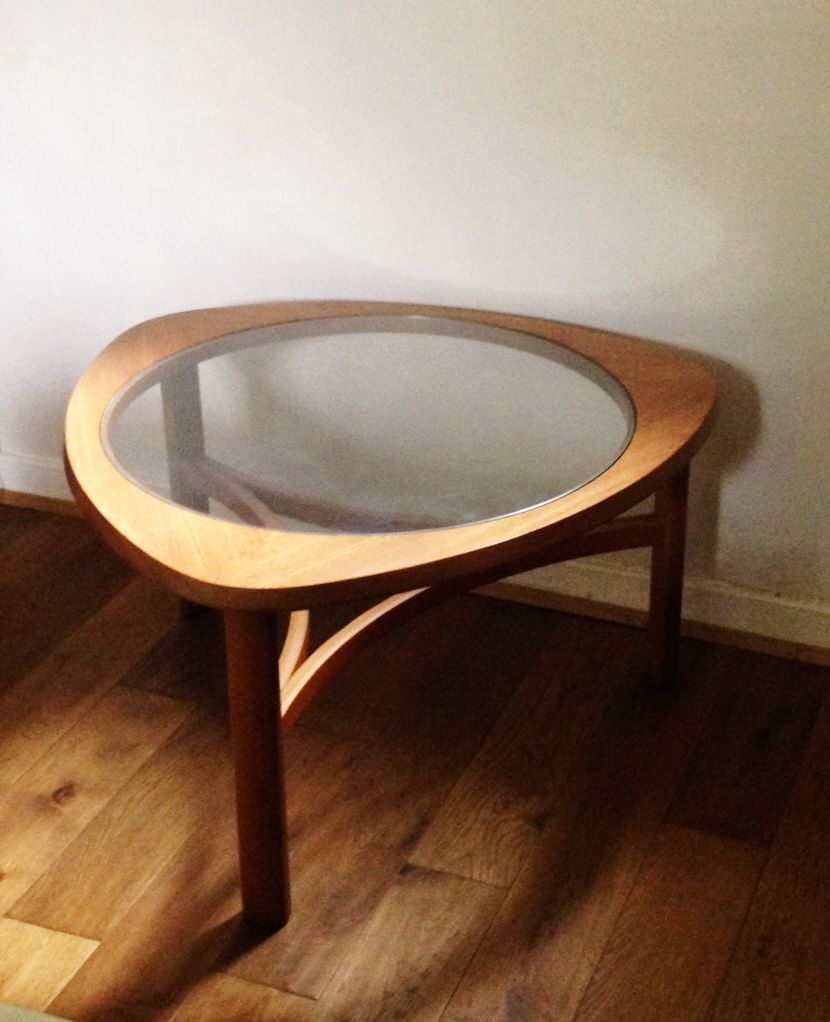 1960s triangular teak coffee table by Nathan www