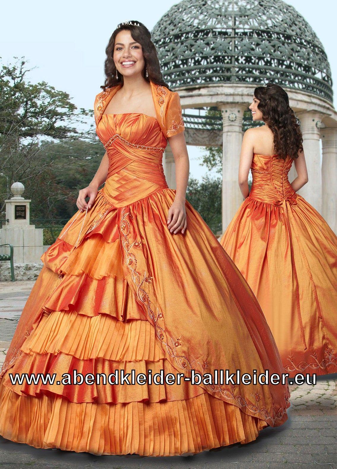 Viktorianisches Ballkleid Weites Abendkleid in Orange mit Bolero ...