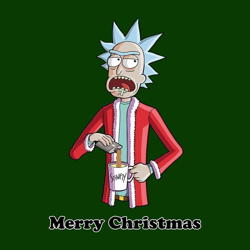 Rick And Morty Rick Boozy Santa Christmas Men's T-Shirt ...