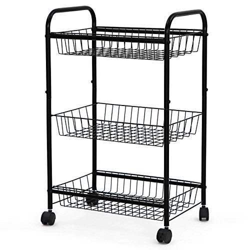 Good Songmics 3 Tiers Rolling Storage Cart With 2 Removable Baskets Kitchen  Pantry Laundry Organizer Bathroom Utility