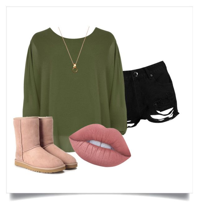 Casual spring outfit, with an olive top, gold necklace and pendant, Uggs, black ripped denim shorts, and a pink-nude lipstick