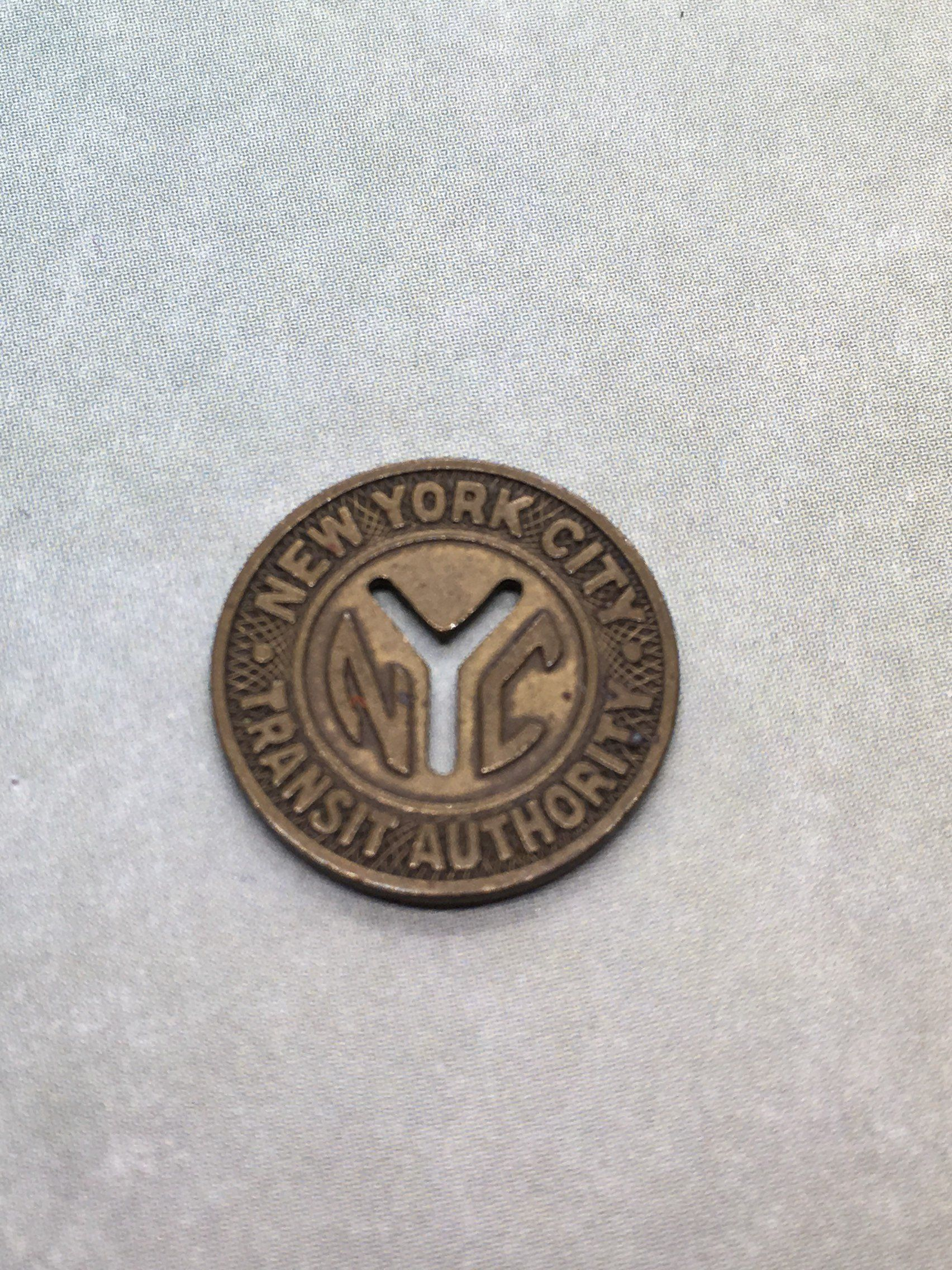 Nyc Subway Token 1950s New York City Transit Authority Good For One Fare By Oldtimesnsuch On Etsy Subway Token Nyc Subway New York Subway