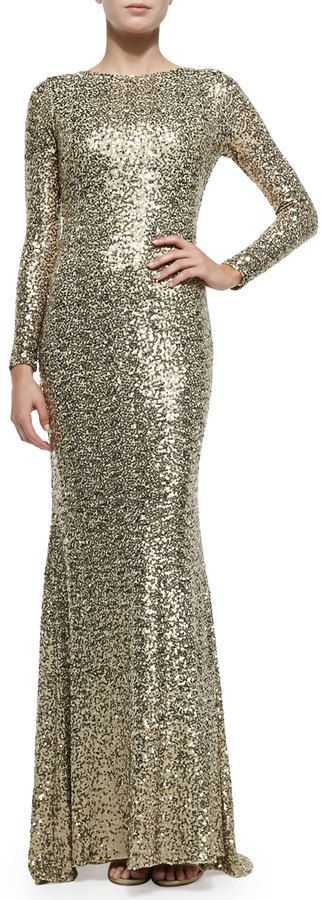 Badgley Mischka Collection Long-Sleeve Sequined Cowl-Back Gown on shopstyle.com