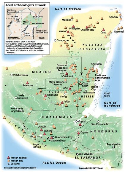 mayan capitals cities map ancient