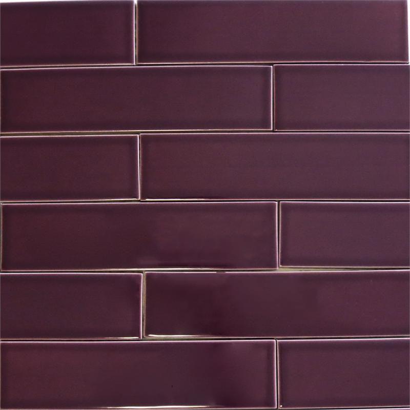 Kitchen Tiles Purple kiln ceramic 2x8 plum - dark purple ceramic tile   ceramic subway