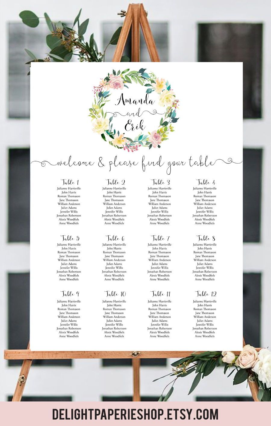 rustic floral wedding table arrangement kraft wedding seating chart