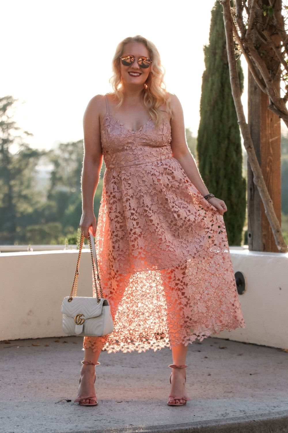 c06f3cf5b4 ASTR the Label Lace Midi Rose Gold Lace Dress for New Years Eve | Have Need  Want Click to read the post + get outfit details!