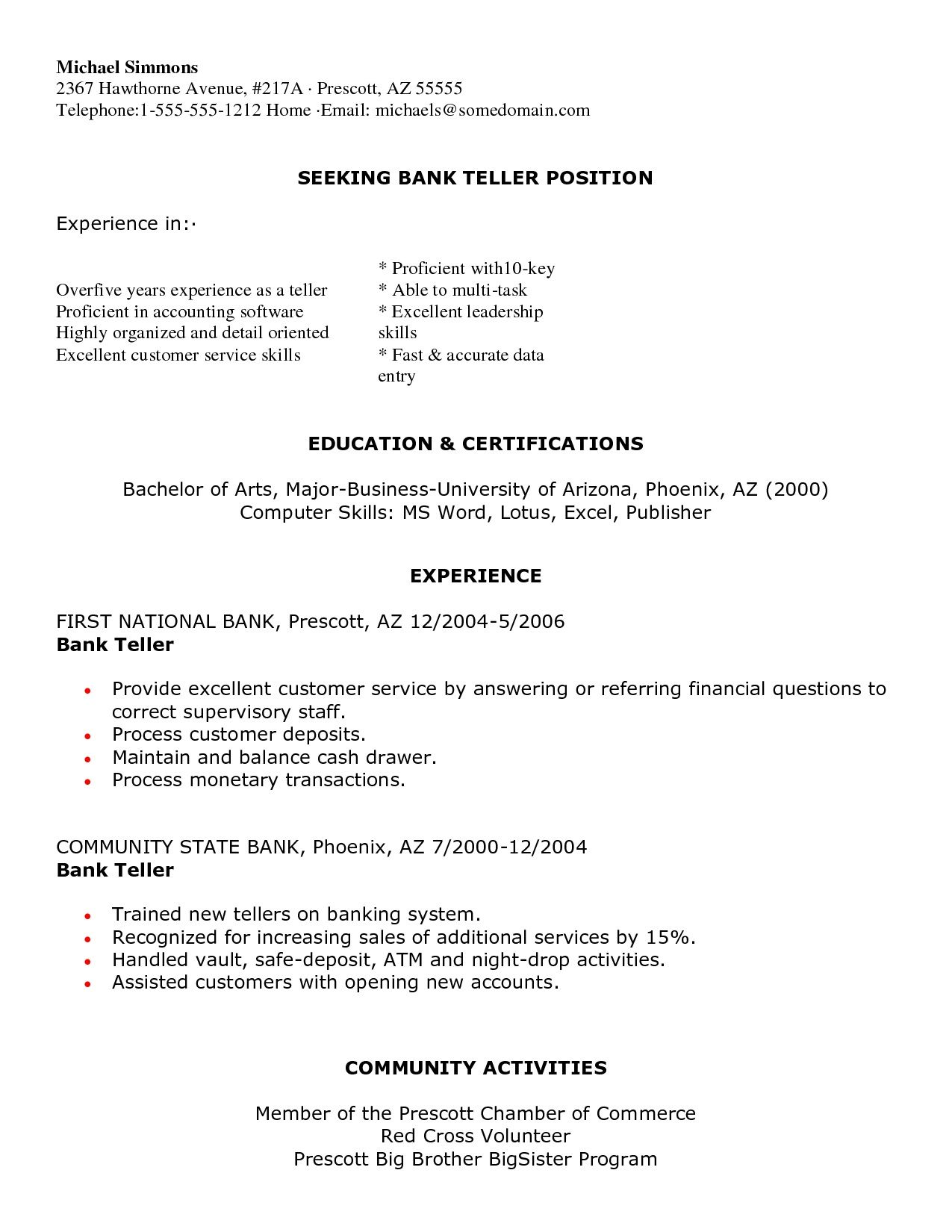 Bank Teller Resume  Bank Teller Resume We Provide As Reference To