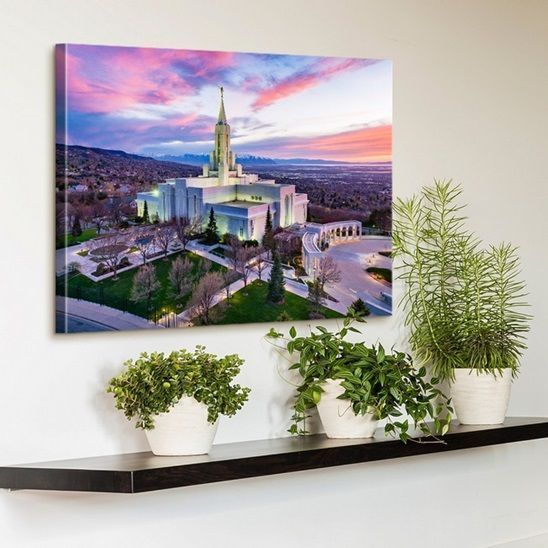 Utah Temple Canvas Print in the Living Room  Dress up a ledge with