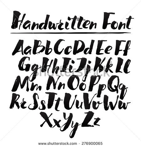 Hand drawn alphabet written with brush pen  Full version