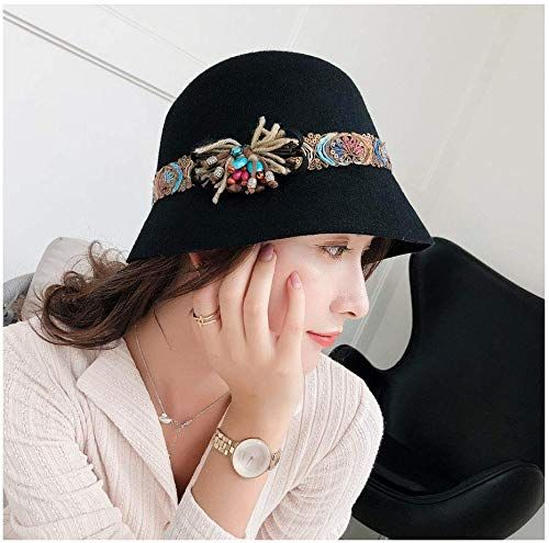 Amazing offer on Fashion Hats, Autumn Winter Female Fedoras Wool Felt Hats Elegant Bucket Ethnic Style Belt Floral Women Fedora Hat online #fedoras