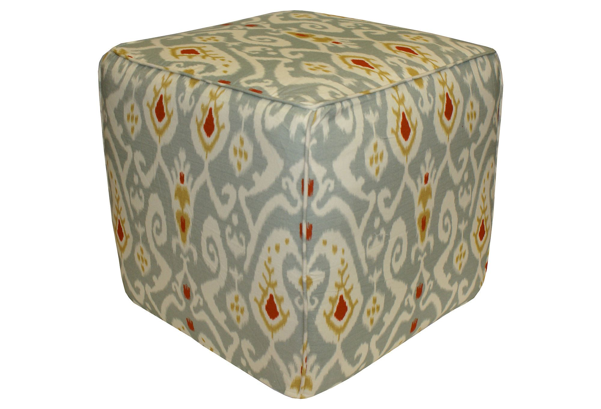 One Kings Lane - Furniture Finds - James Ikat Pouf, Gray   Family ...