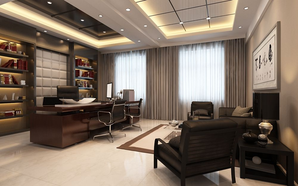 Top 10 luxury home offices office designs office spaces for Office room interior design photos