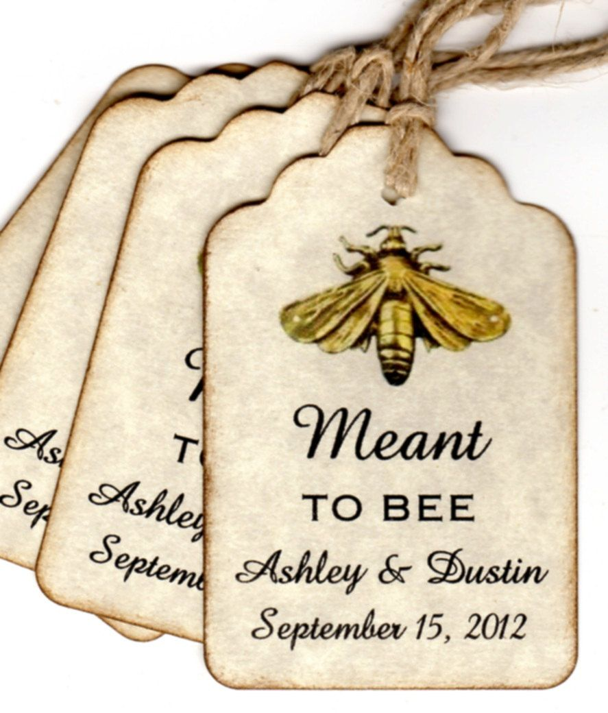 50 Vintage Meant To BEE Wedding Favor Gift Tags / Wedding Wish Tags ...