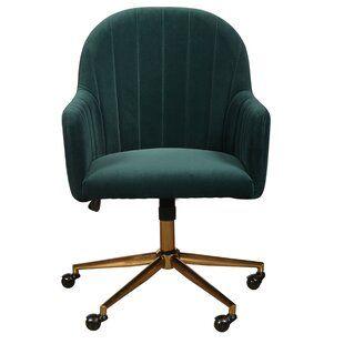 Kmax Home Office Chair Tufted Desk Chair Velvet Fabric Task Chair With Gold Frame 360 Swivel Reception Chair Dark Teal Vozeli Com