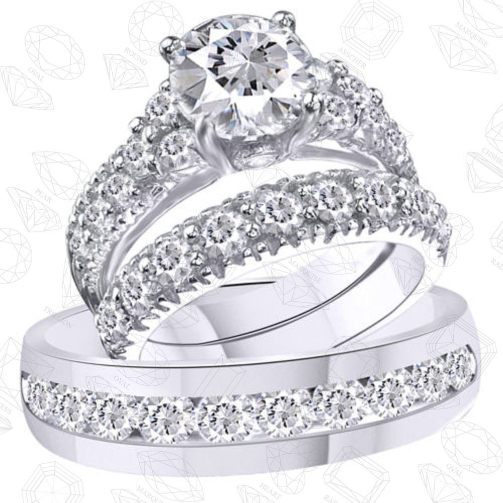 His Her Mens And Woman Diamonds Wedding Ring Bands Trio Bridal Set