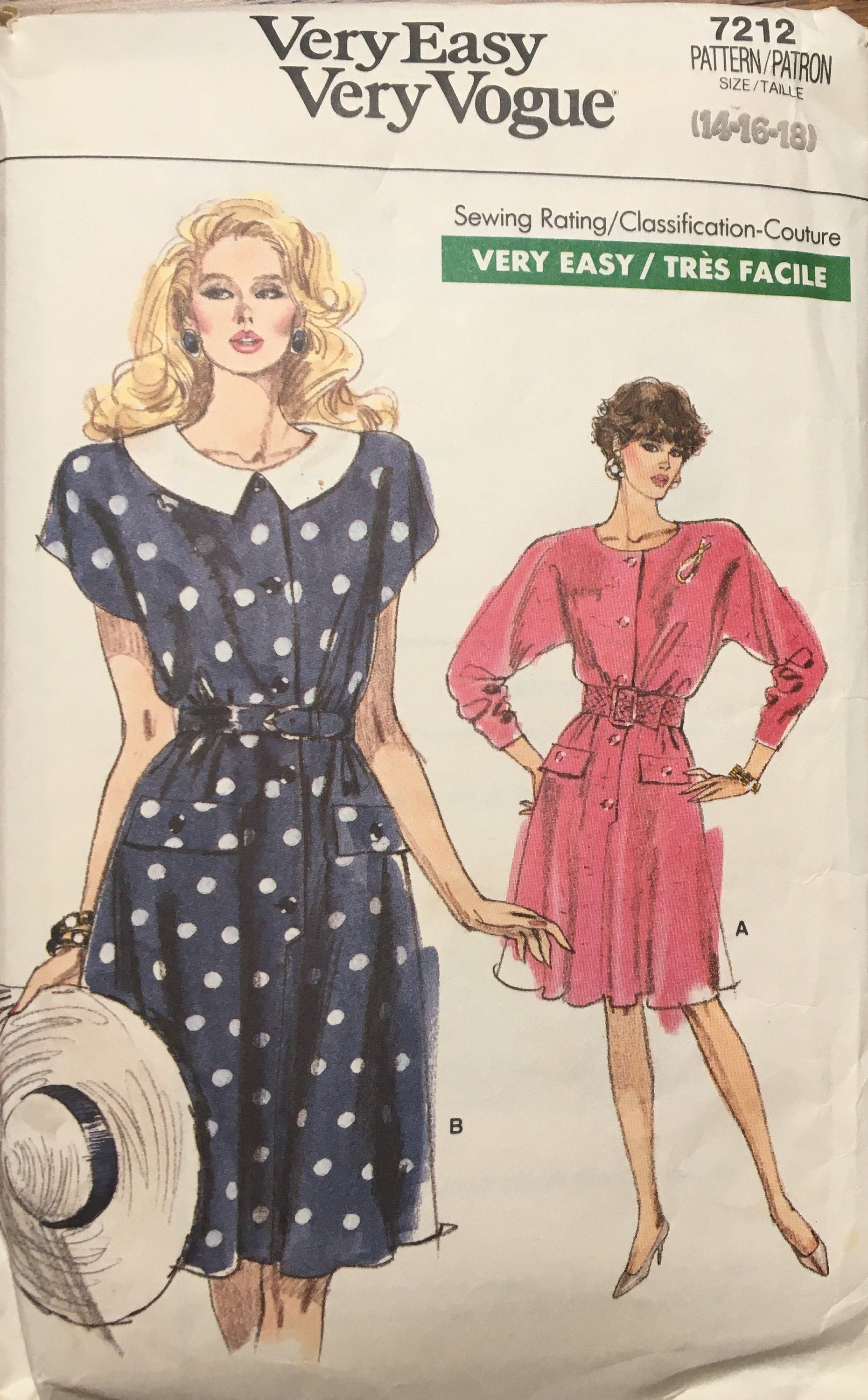 ae0f73e5cdc86 80s vintage Vogue 7212 women's dress, sizes 14 16 18 UNCUT, 1980s fashion  by MotherMuse on Etsy