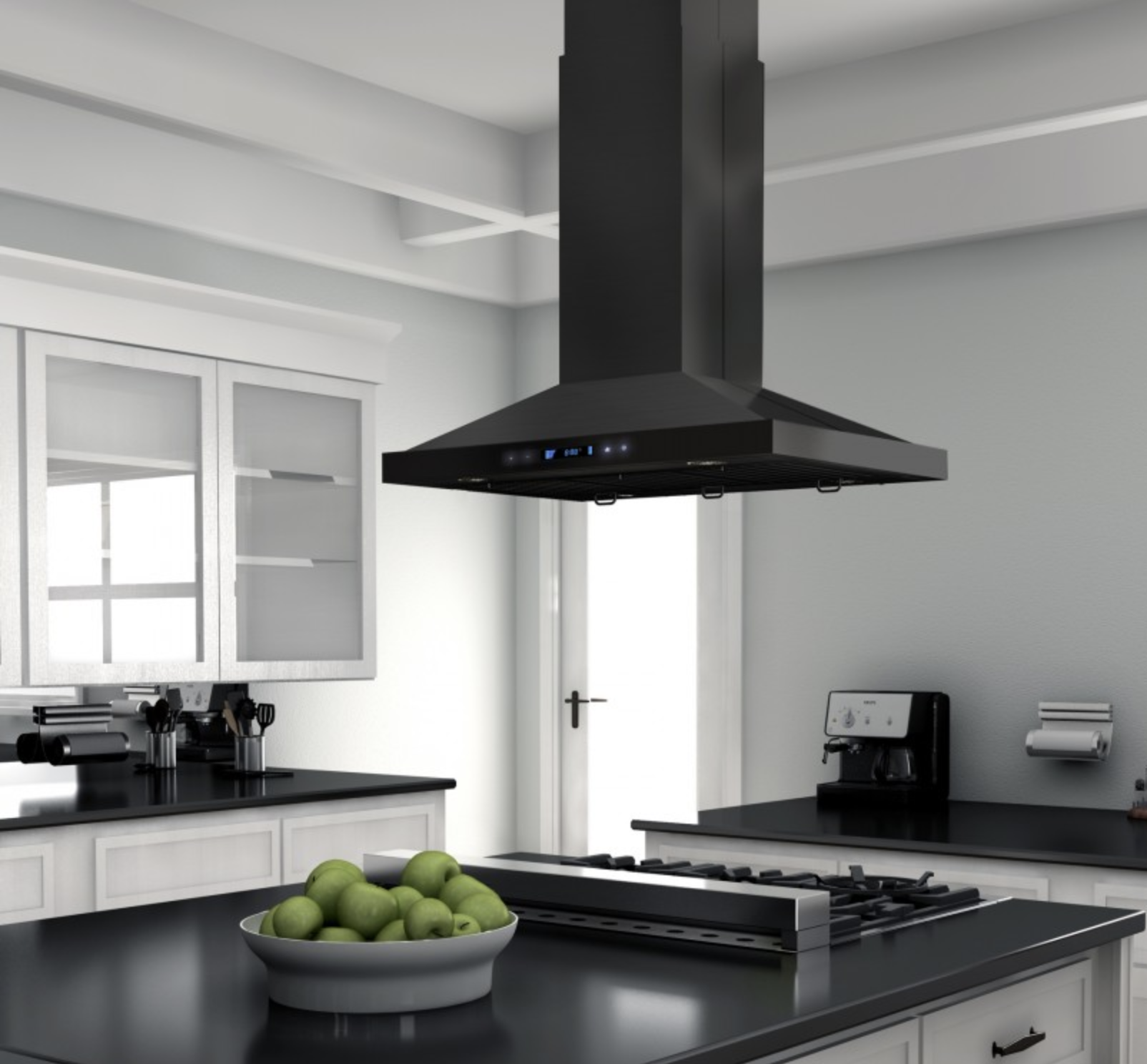 Zline 30 In 760 Cfm Island Mount Range Hood In Black Stainless Steel Range Hood Black Stainless Steel Sleek Kitchen