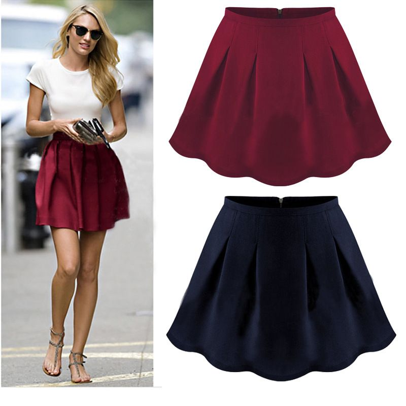 High Waist Pleated Flared Skirt Wine/navy | Young Ladies Fashion ...