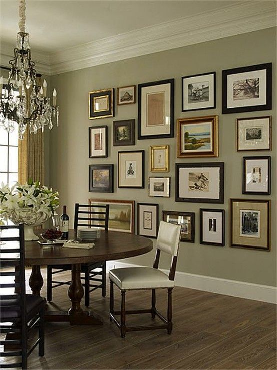 Mixed Frames Pictures Hang Low On The Wall Dining Room