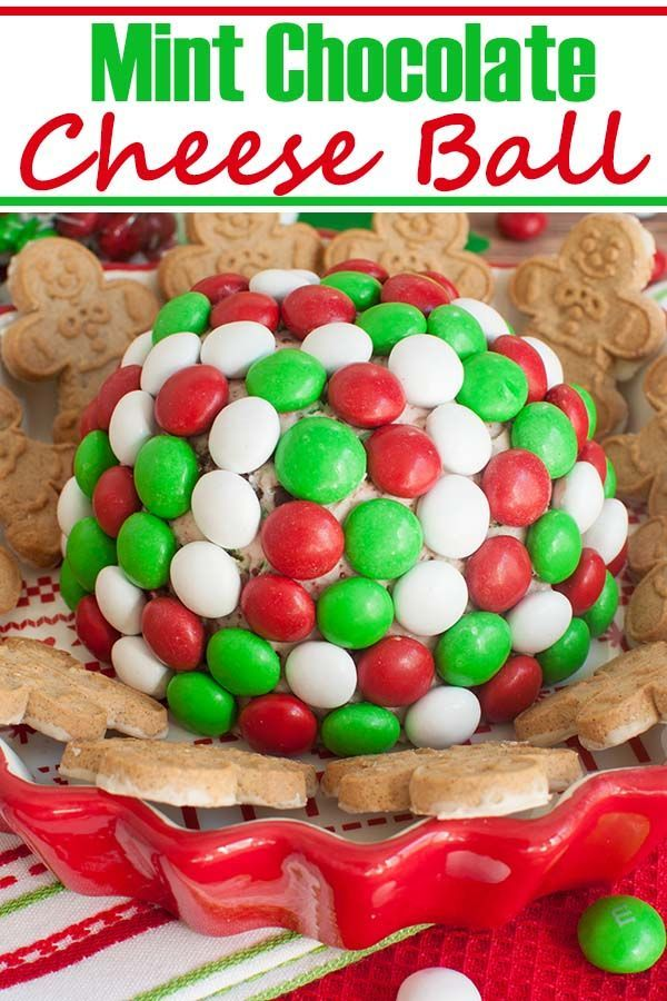 Holiday M&M Peppermint Cheese Ball You've never had a cheese ball like this easy 5 ingredient Chris