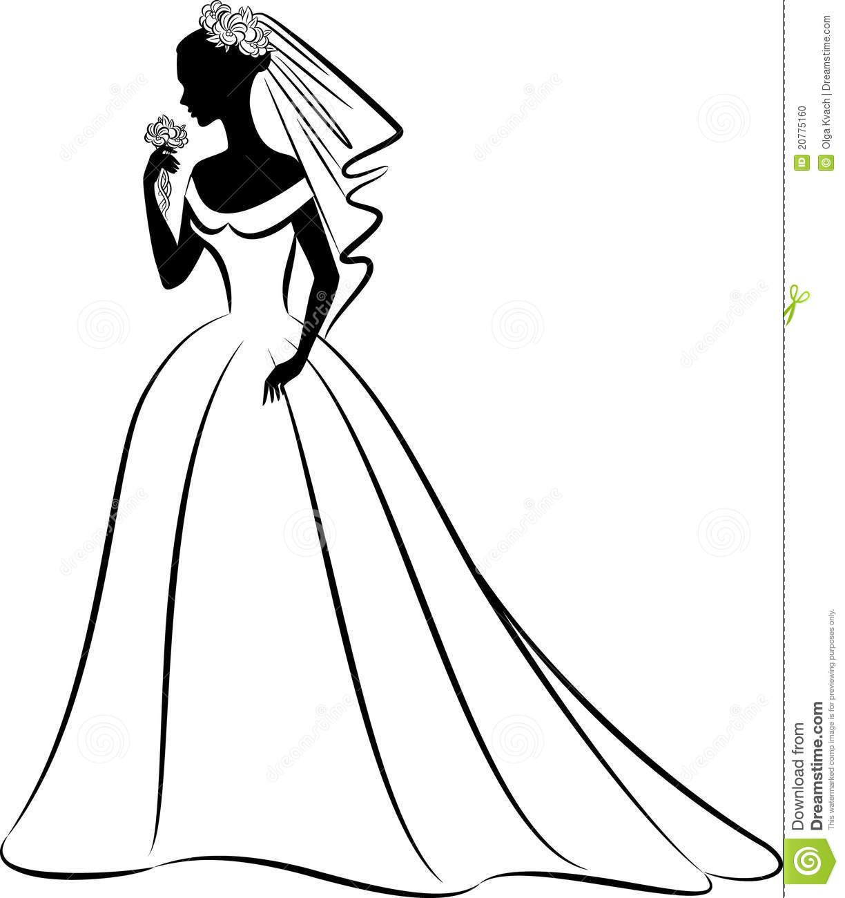 Line Art Wedding : Bridal clip art black and white yahoo image search