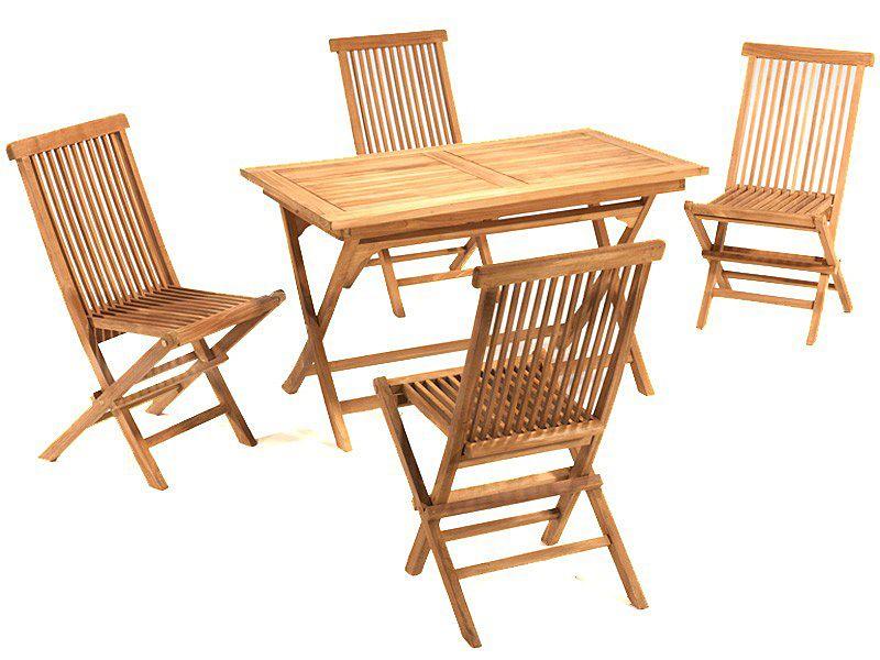 mesa de teca con sillas