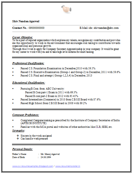 one page simple resume format