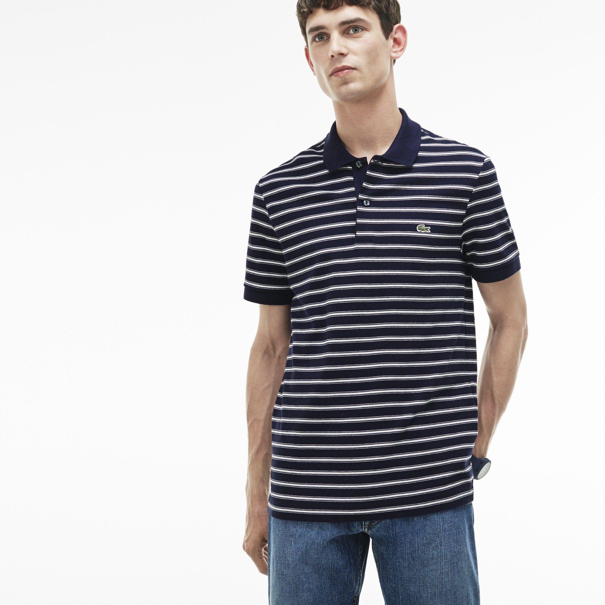 abdf0d51 LACOSTE Men's Regular Fit Striped Cotton Petit Piqué Polo - blue pigment  chine/flour. #lacoste #cloth #
