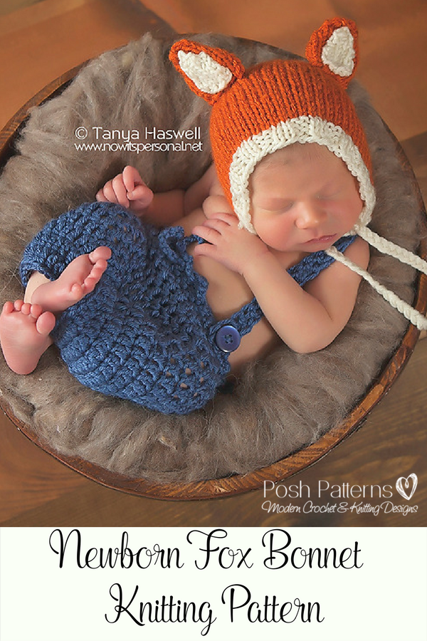 Knitting PATTERN - Knit Baby Fox Hat Pattern