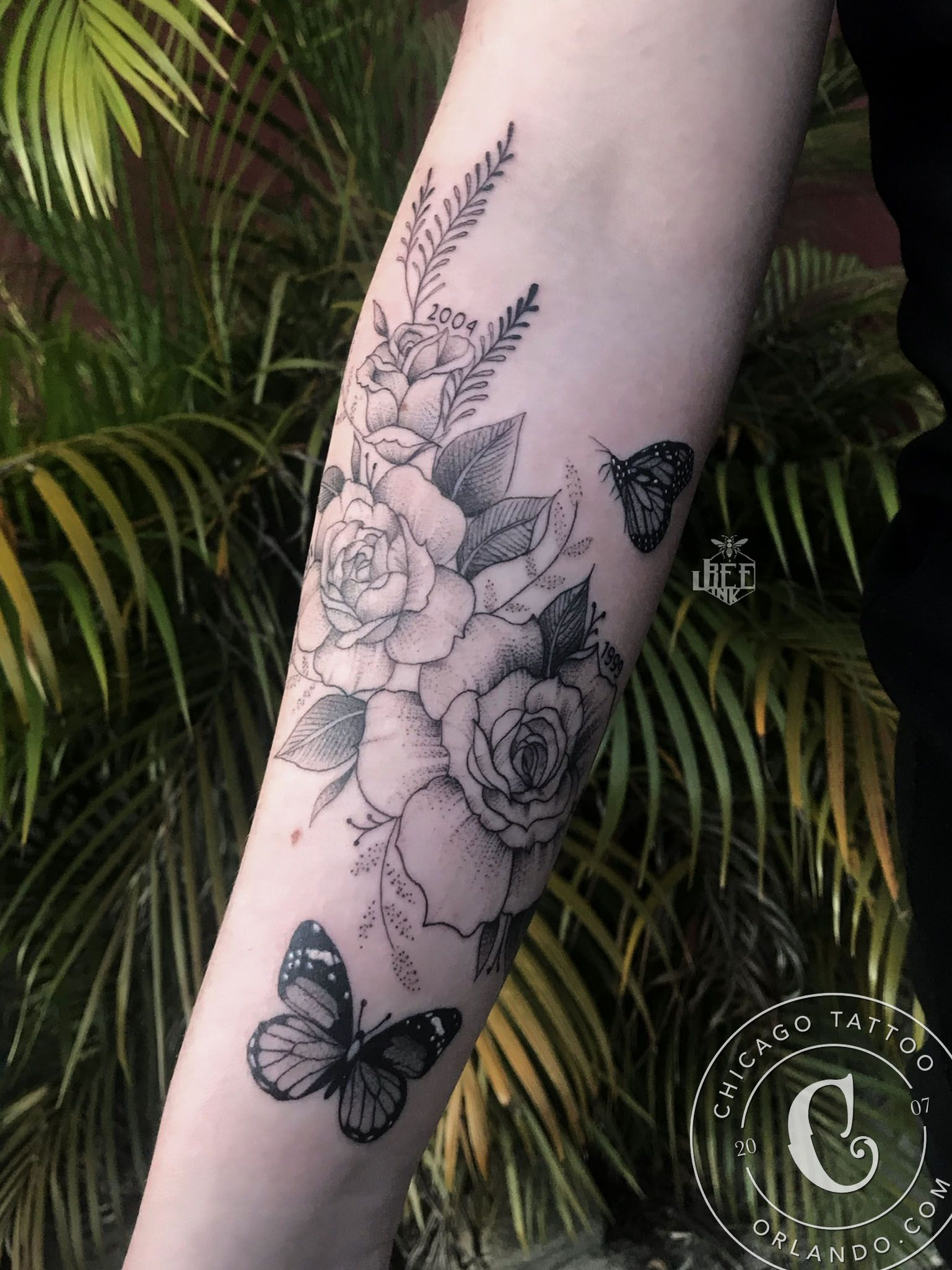 Monarch and butterfly tattoo chicago tattoo orlando in
