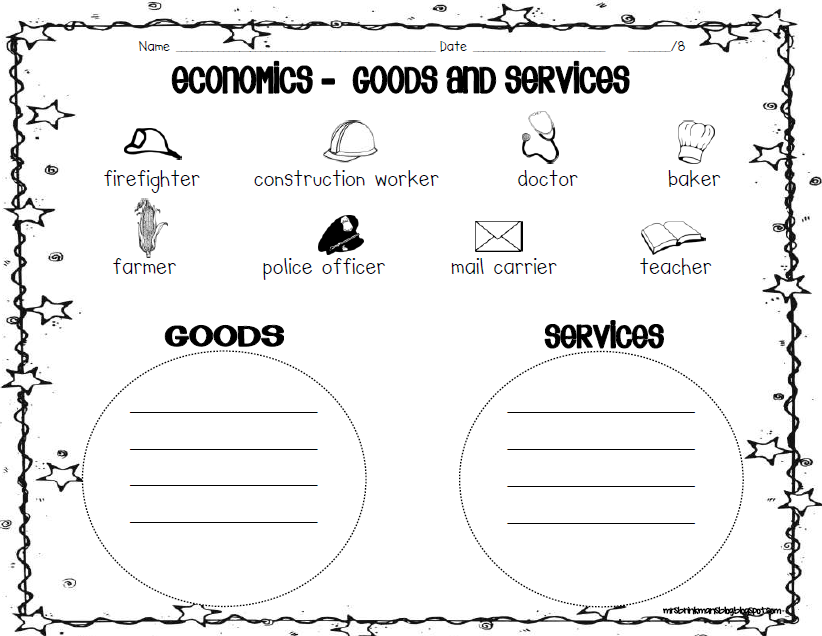 Printables Goods And Services Worksheets 1000 images about economics goods services on pinterest mini books assessment and economics