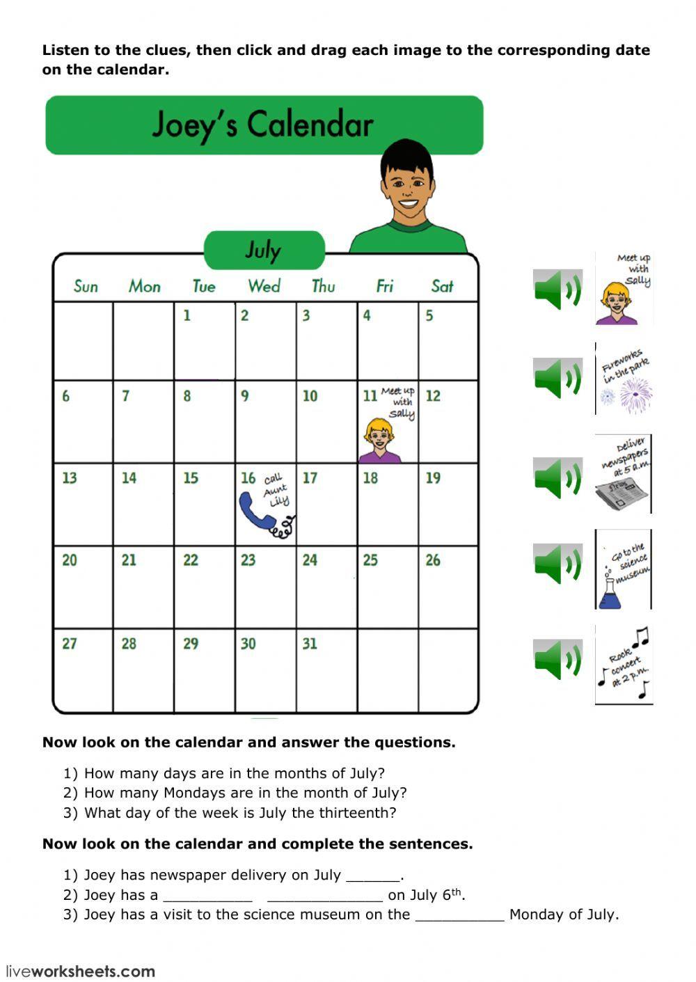 Joey's Calendar Interactive worksheet in 2020 School