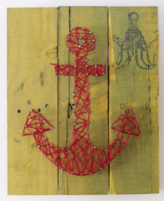 Anchor on Reclaimed Wood Canvas String Art by ElevenOwlsStudio