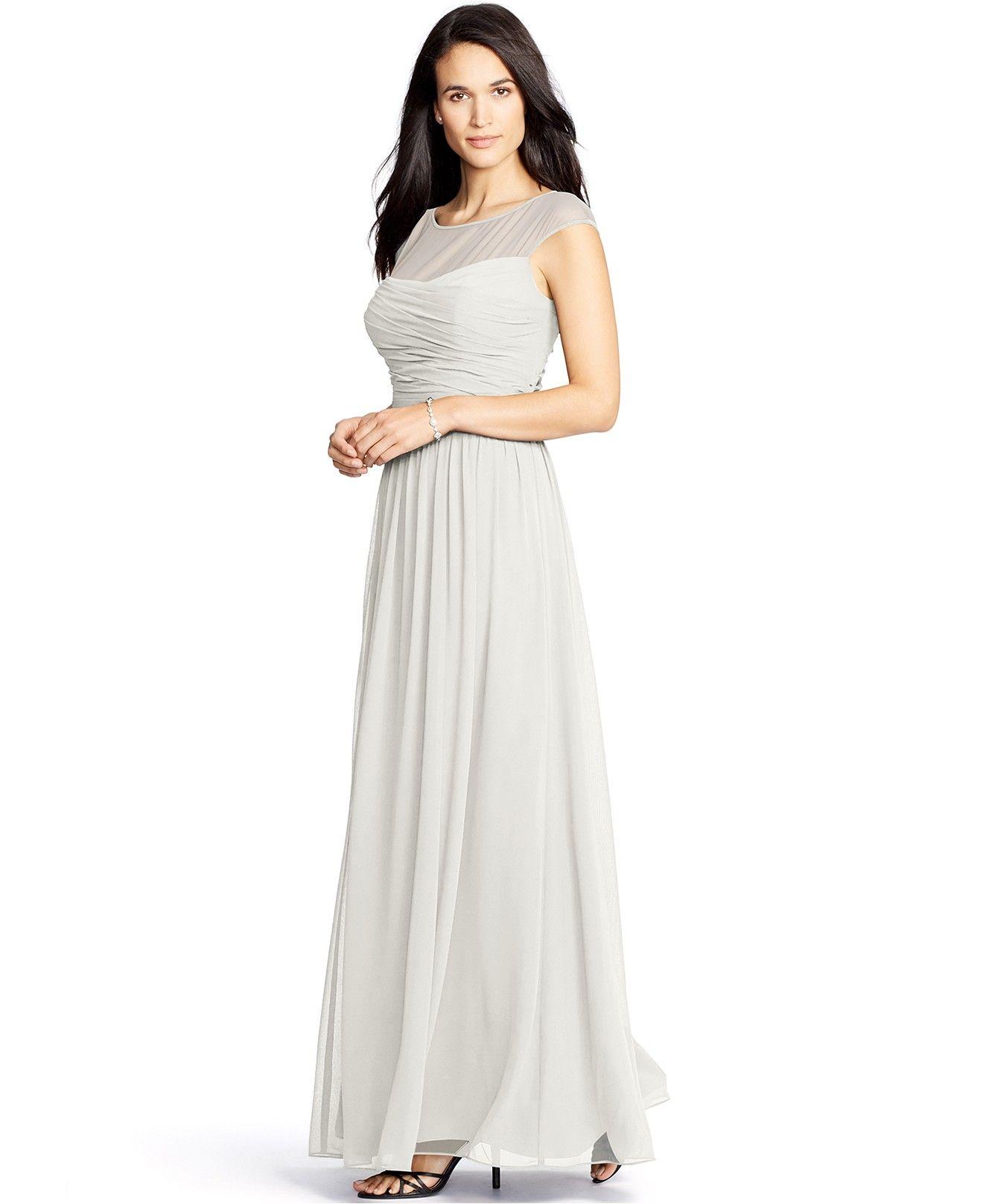 Lauren Ralph Lauren Ruched Illusion Gown - Dresses - Women - Macy\'s ...