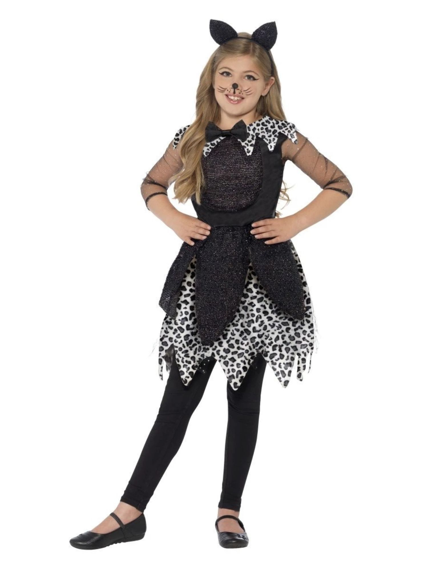 Black and White Deluxe Midnight Cat Girl Child Halloween