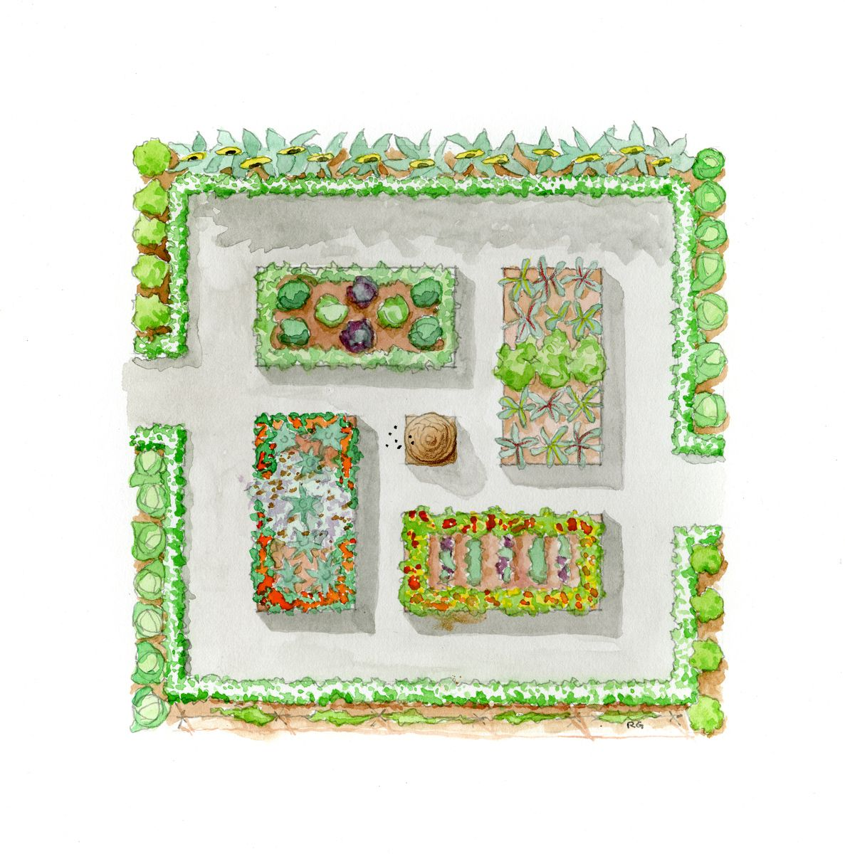raised bed garden plans | The Paintbox Garden from The Complete ...