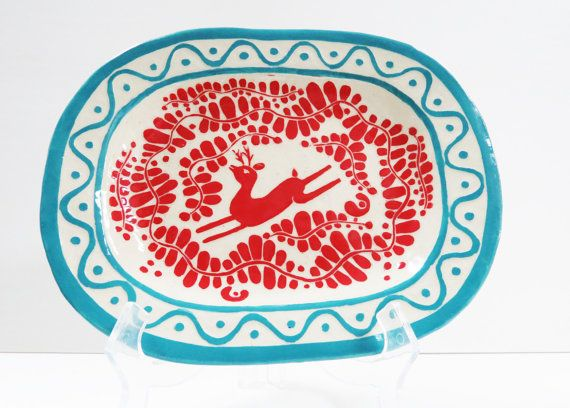 Handmade PLATTER with Leaping DEER - SGRAFFITO Carved -Turquoise & Red Trending Colors! Pottery Garden Carved