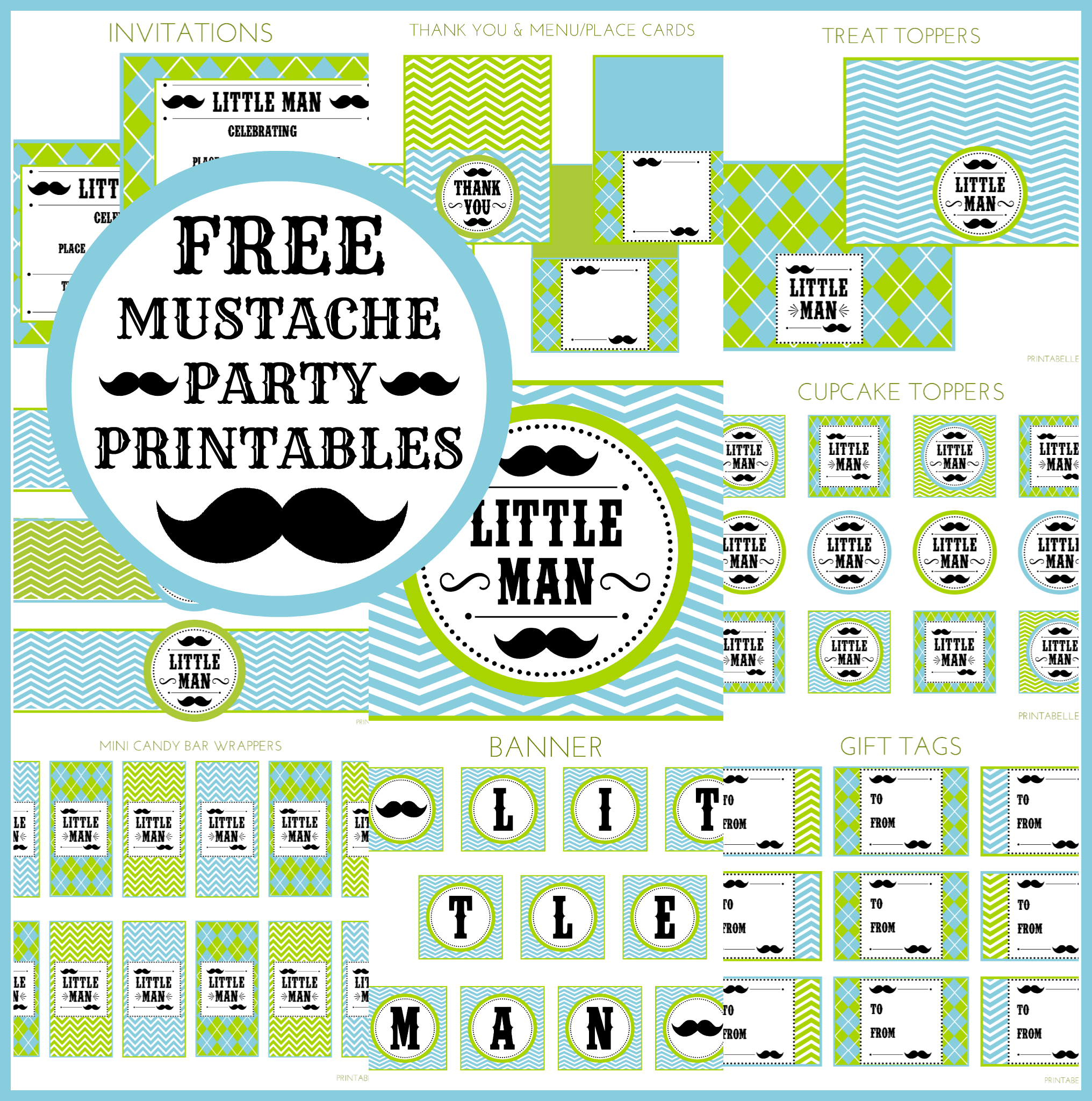 FREE Little Man Mustache Bash Party Printables From Printabelle. Little Man  BabyshowerLil ...