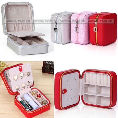 Travel Portable Zip Jewelry Box Ring Necklace Display