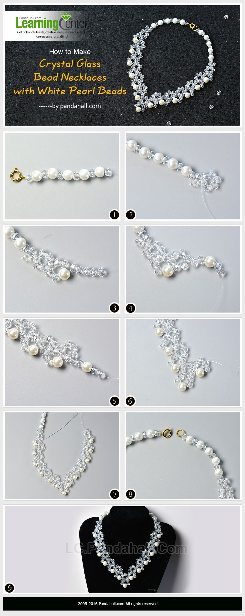 How to Make Crystal Glass Bead Necklaces with White Pearl Beads ...