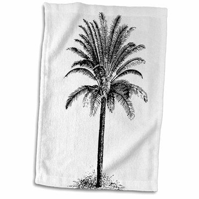 East Urban Home Pierre Palm Tree Drawing Hand Towel | Palm ...