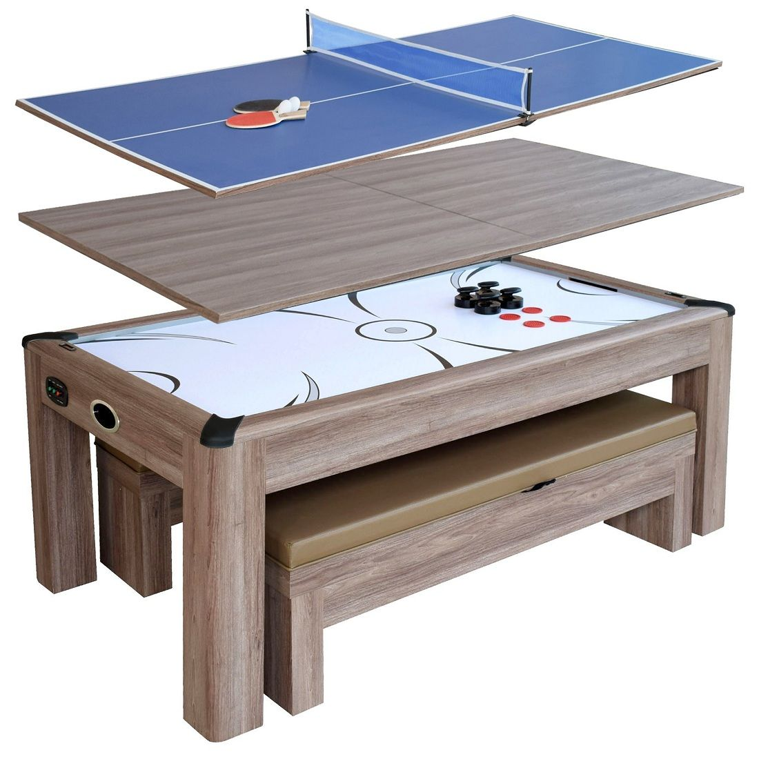 The Multi Functional Driftwood 7 Ft Air Hockey Table Combo Set Delivers 3 Great Uses In Handsome Style The Driftw In 2020 Multi Game Table Air Hockey Table Air Hockey