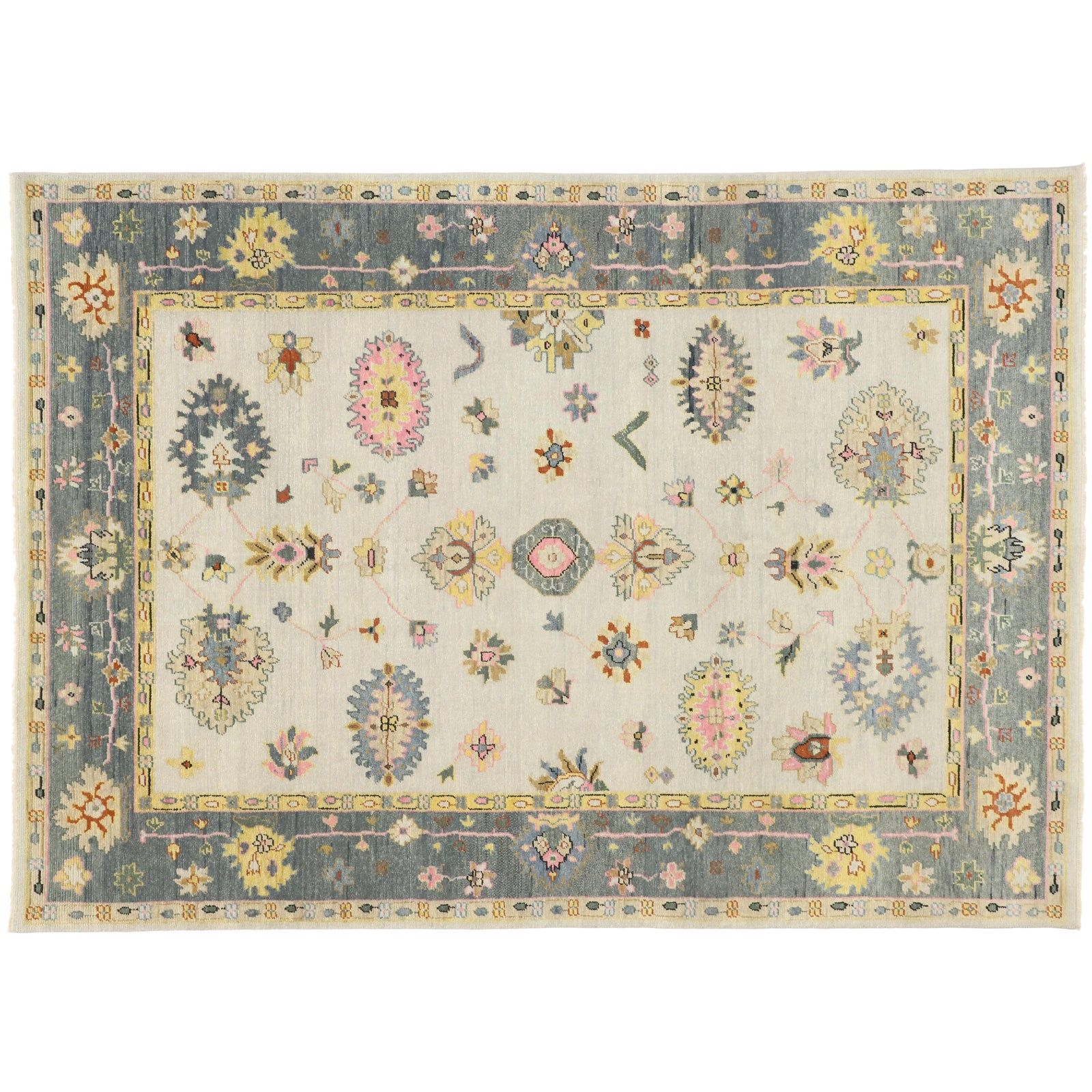 Contemporary oushak transitional area rug 9 127 in