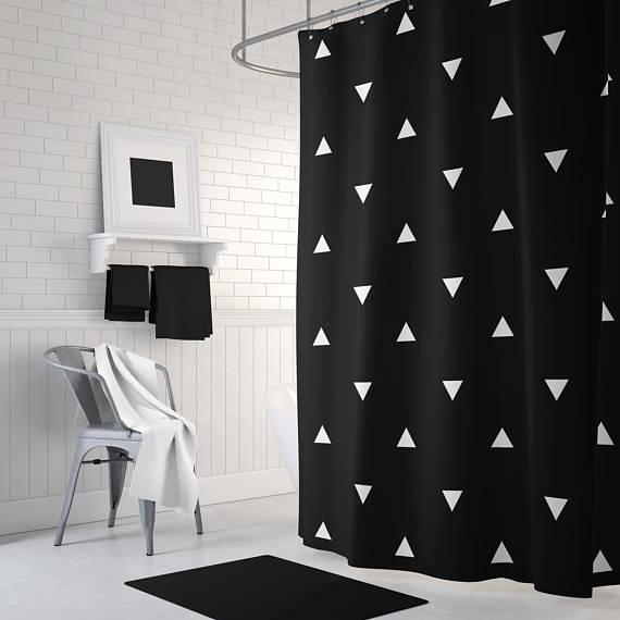 Geometric Shower Curtain Black White Shower Curtain Cool Cool Shower Curtains White Shower Curtain White Shower