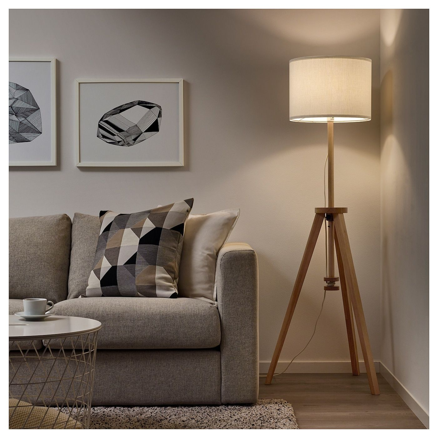 Ikea Lauters Ash White Floor Lamp With Led Bulb In 2020 White