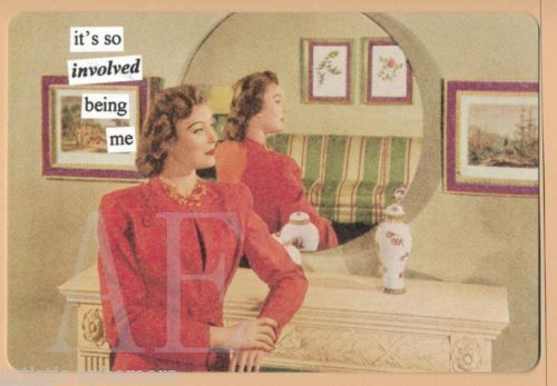 ATPC47-ANNE-TAINTOR-POSTCARD-MAGNET-Retro-Lady-its-so-involved-being-me