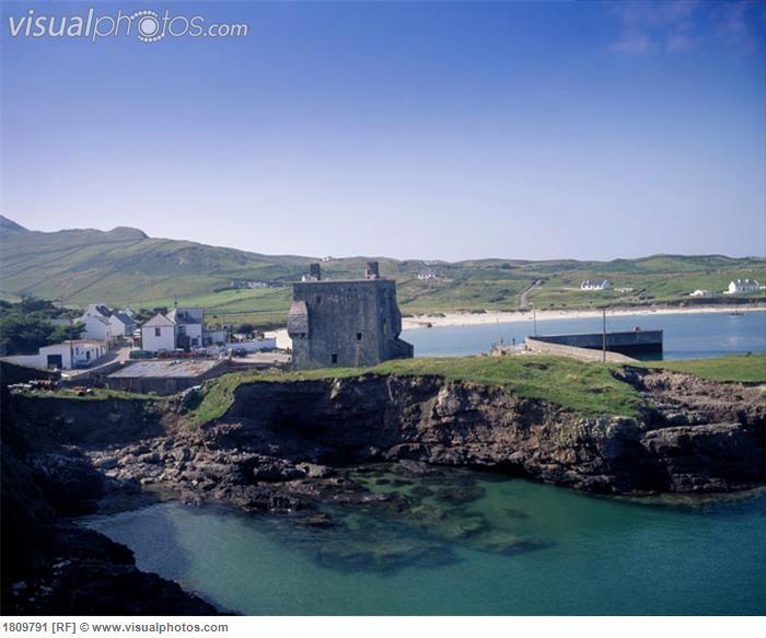 Clare Island Harbor and Grace O'Malley Tower, County Mayo, Ireland