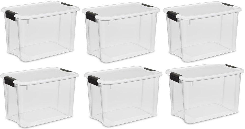 6 Sterilite 30qt Ultra Latch Storage Box White Lid See Through Base Shoe Craft