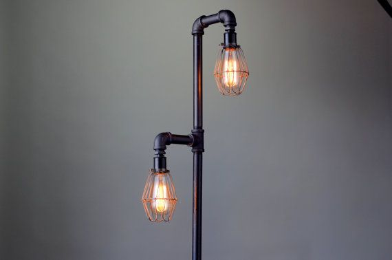 Pipe floor lamp industrial floor lamp edison bulb standing